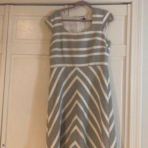 ANN TAYLOR cream striped dress